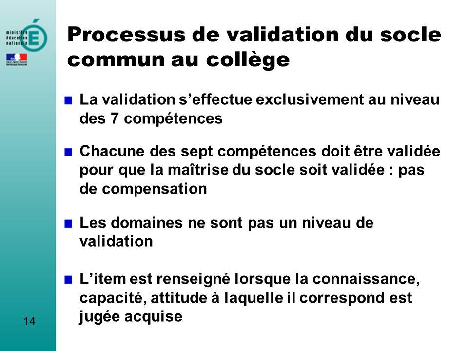 Processus de validation du socle commun au collège La validation seffectue exclusivement au niveau des 7 compétences Chacune des sept compétences doit