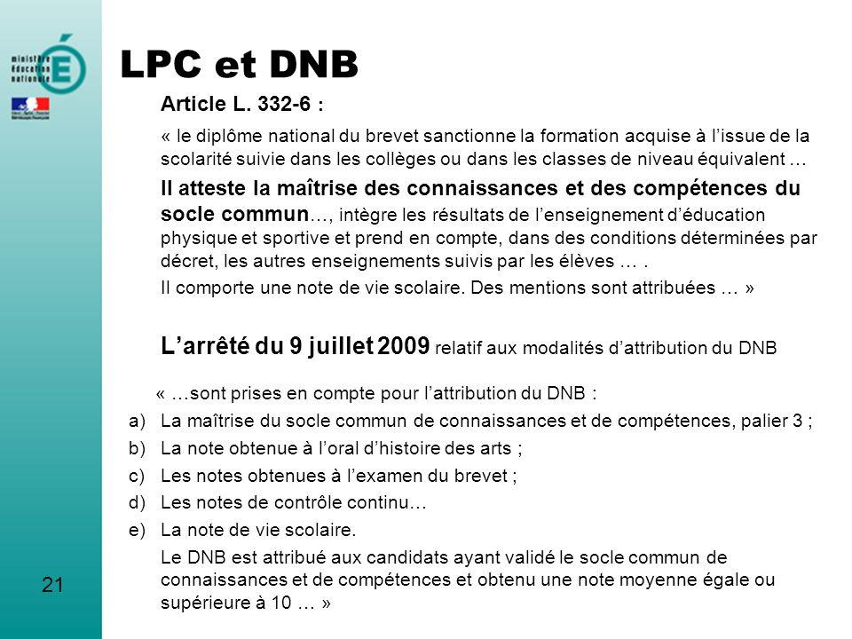 LPC et DNB Article L. 332-6 : « le diplôme national du brevet sanctionne la formation acquise à lissue de la scolarité suivie dans les collèges ou dan