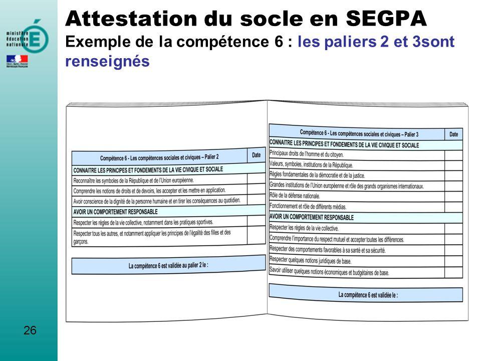 Attestation du socle en SEGPA Exemple de la compétence 6 : les paliers 2 et 3sont renseignés 26