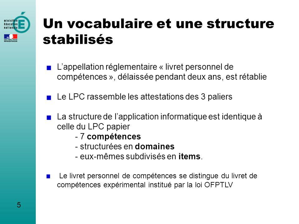 Un vocabulaire et une structure stabilisés Lappellation réglementaire « livret personnel de compétences », délaissée pendant deux ans, est rétablie Le