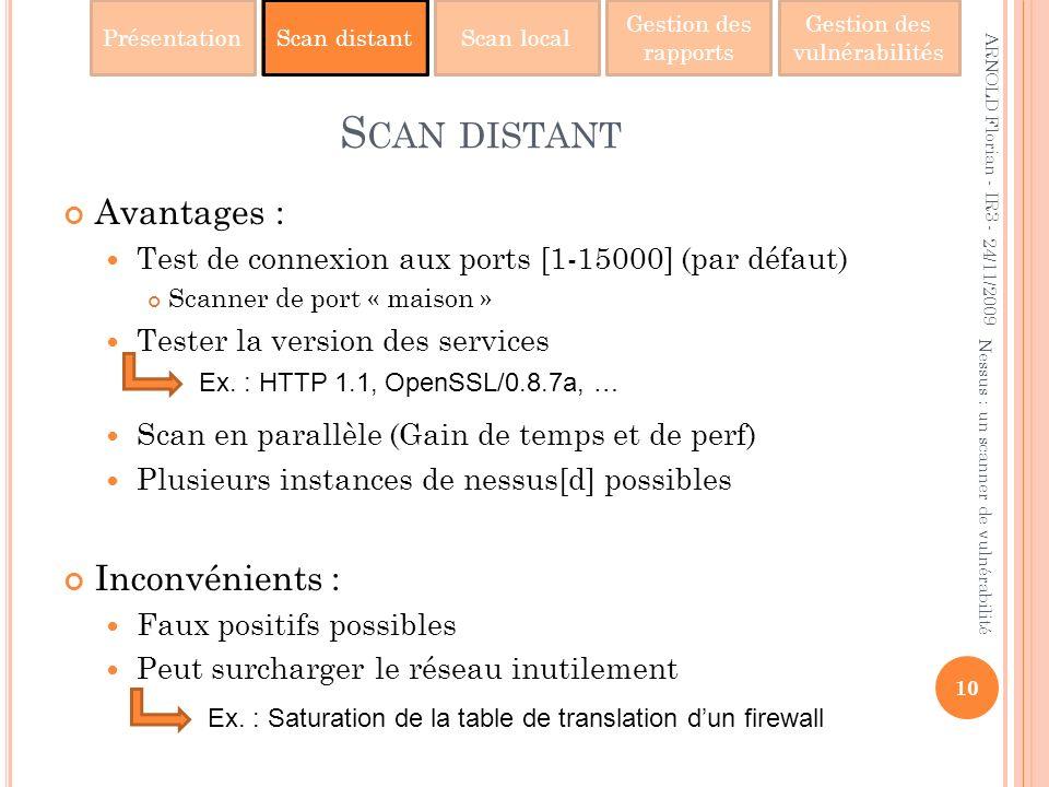 PrésentationScan distantScan local Gestion des rapports Gestion des vulnérabilités S CAN DISTANT Avantages : Test de connexion aux ports [1-15000] (pa