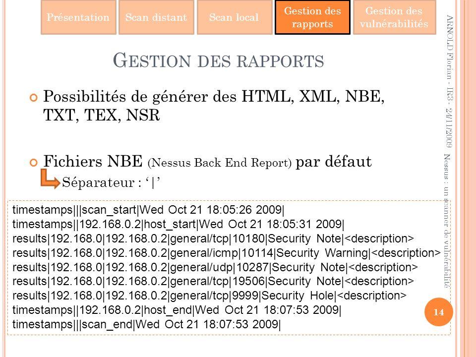 PrésentationScan distantScan local Gestion des rapports Gestion des vulnérabilités timestamps|||scan_start|Wed Oct 21 18:05:26 2009| timestamps||192.1