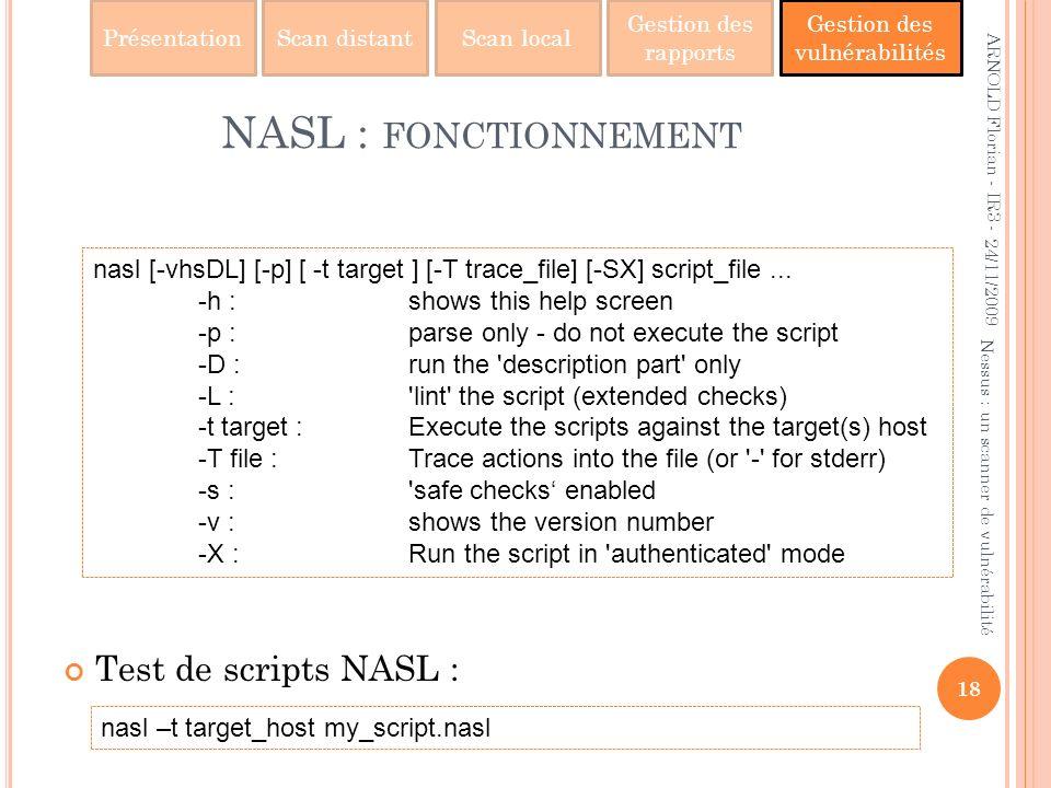PrésentationScan distantScan local Gestion des rapports Gestion des vulnérabilités NASL : FONCTIONNEMENT Test de scripts NASL : 24/11/2009 18 Nessus :