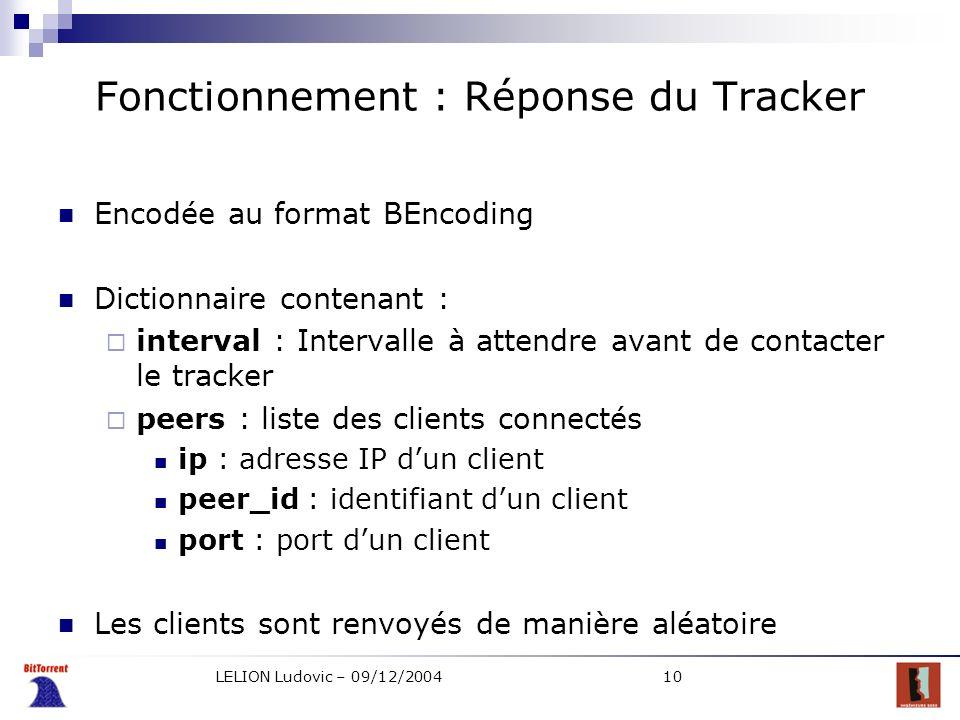 LELION Ludovic – 09/12/200410 Fonctionnement : Réponse du Tracker Encodée au format BEncoding Dictionnaire contenant : interval : Intervalle à attendr