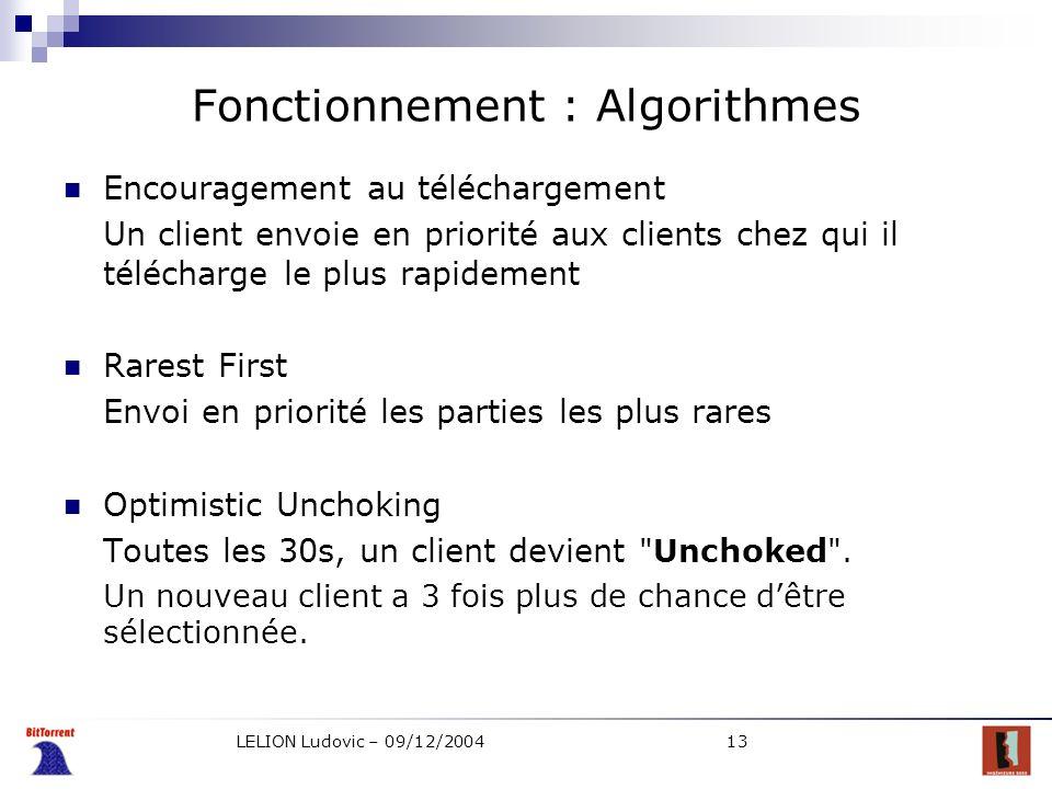 LELION Ludovic – 09/12/200413 Fonctionnement : Algorithmes Encouragement au téléchargement Un client envoie en priorité aux clients chez qui il téléch