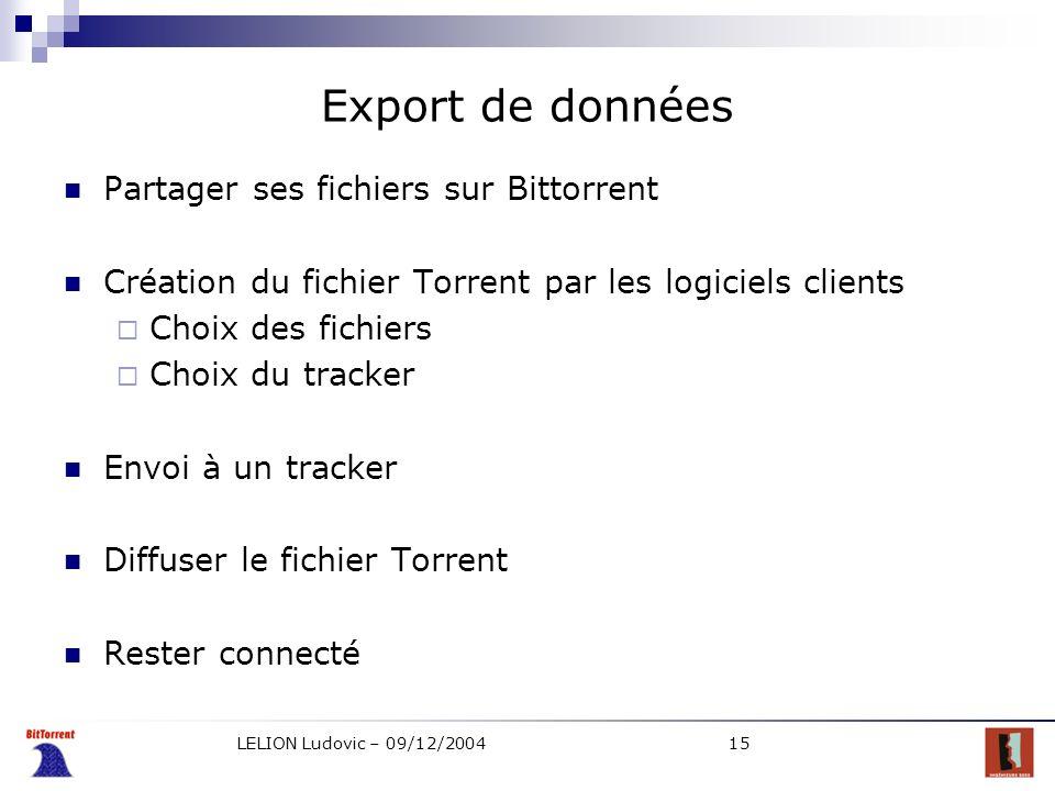 LELION Ludovic – 09/12/200415 Export de données Partager ses fichiers sur Bittorrent Création du fichier Torrent par les logiciels clients Choix des f