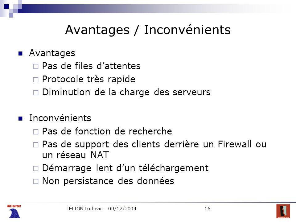 LELION Ludovic – 09/12/200416 Avantages / Inconvénients Avantages Pas de files dattentes Protocole très rapide Diminution de la charge des serveurs In