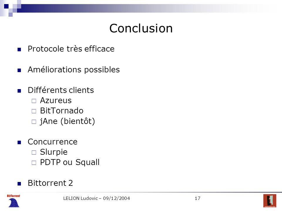 LELION Ludovic – 09/12/200417 Conclusion Protocole très efficace Améliorations possibles Différents clients Azureus BitTornado jAne (bientôt) Concurre