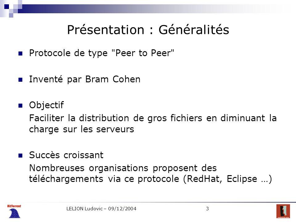 LELION Ludovic – 09/12/20044 Présentation : Glossaire Torrent Client Seeder Leecher Tracker