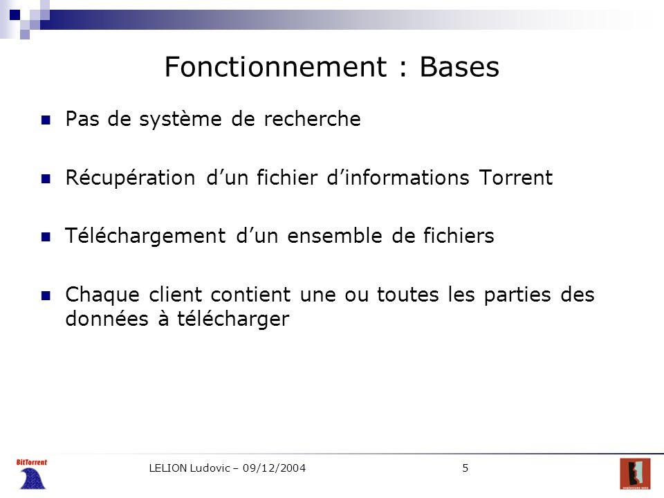 LELION Ludovic – 09/12/20045 Fonctionnement : Bases Pas de système de recherche Récupération dun fichier dinformations Torrent Téléchargement dun ense