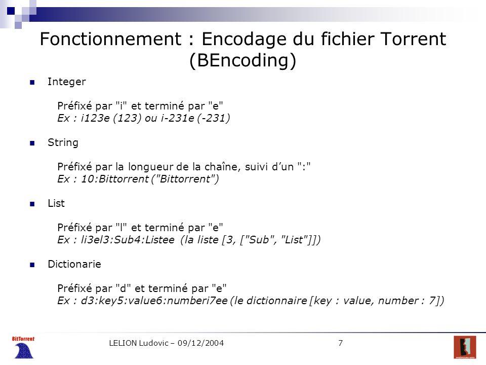LELION Ludovic – 09/12/20047 Fonctionnement : Encodage du fichier Torrent (BEncoding) Integer Préfixé par