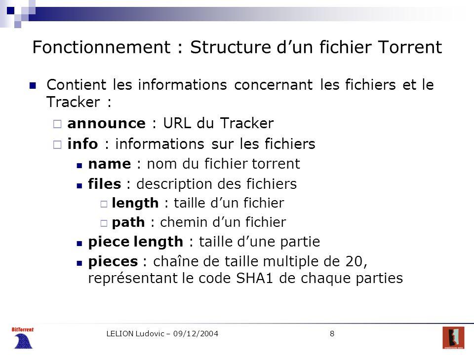 LELION Ludovic – 09/12/20049 Fonctionnement : Connexion au Tracker Obtenir des informations concernant les clients connectés Envoi dune requête HTTP avec les paramètres : peer_id : identifiant du client info_hash : le code SHA1 du dictionnaire info ip : adresse IP du client port : port du client