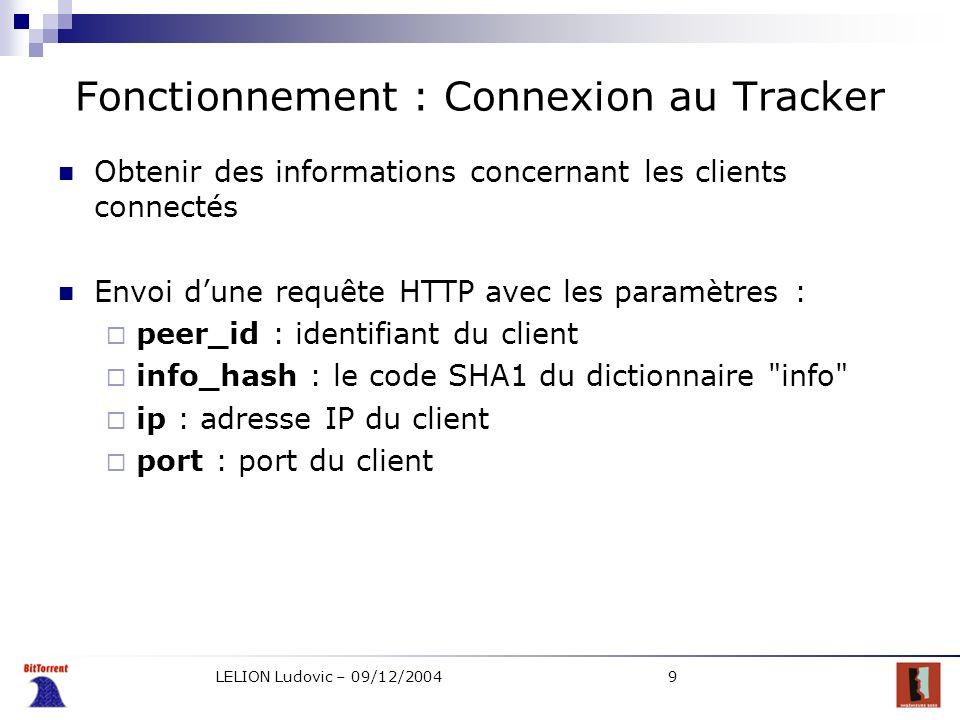 LELION Ludovic – 09/12/20049 Fonctionnement : Connexion au Tracker Obtenir des informations concernant les clients connectés Envoi dune requête HTTP a