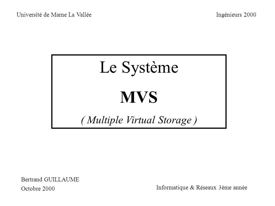 Fonctionnement de la mémoire virtuelle : Virtual Storage 2 Go Segment 256 pages Segment 256 pages Adresse virtuelle DAT STOR Segment 1 Segment 2 Segment 3 Table des segments Table des pages Central Storage Expanded Storage Auxiliary Storage