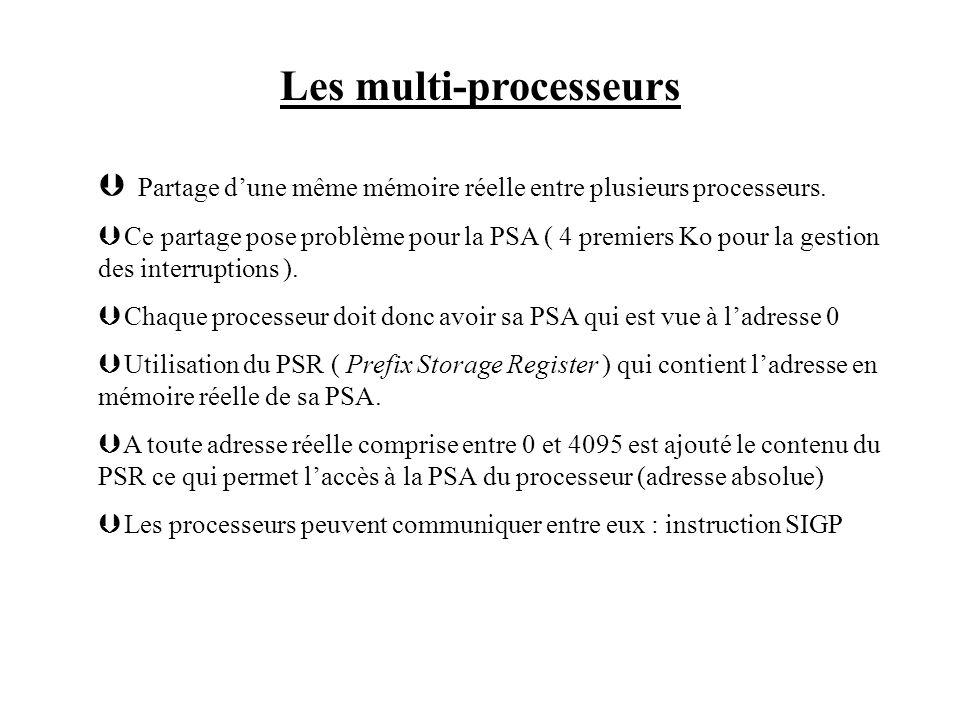 Les multi-processeurs Þ Partage dune même mémoire réelle entre plusieurs processeurs. Þ Ce partage pose problème pour la PSA ( 4 premiers Ko pour la g