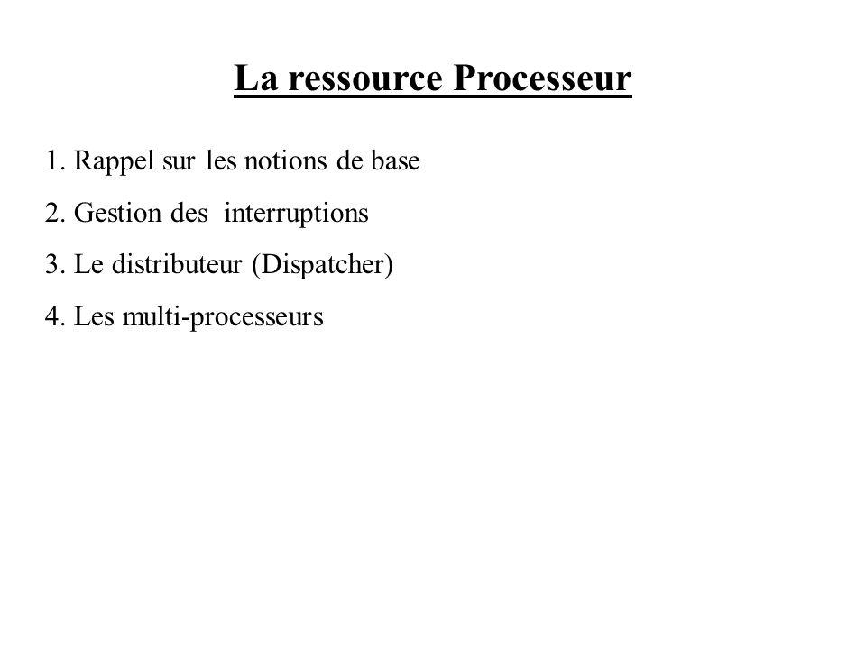 La ressource Processeur 1. Rappel sur les notions de base 2. Gestion des interruptions 3. Le distributeur (Dispatcher) 4. Les multi-processeurs