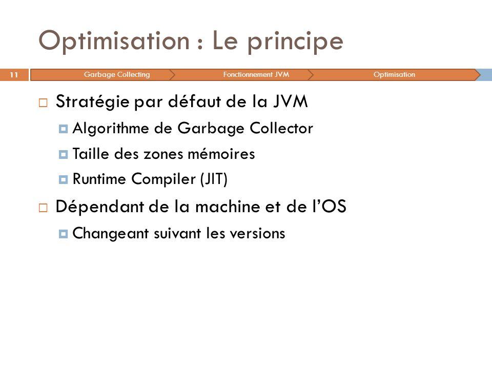 Optimisation : Le principe Stratégie par défaut de la JVM Algorithme de Garbage Collector Taille des zones mémoires Runtime Compiler (JIT) Dépendant d