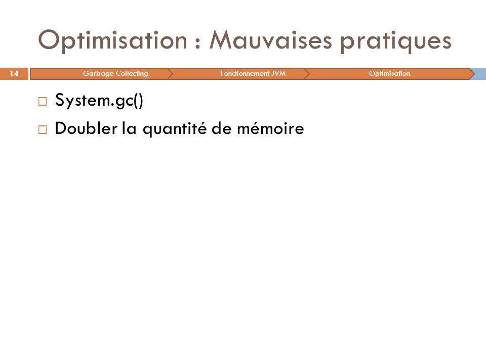 Optimisation : Mauvaises pratiques System.gc() Doubler la quantité de mémoire 14 Garbage CollectingFonctionnement JVMOptimisation