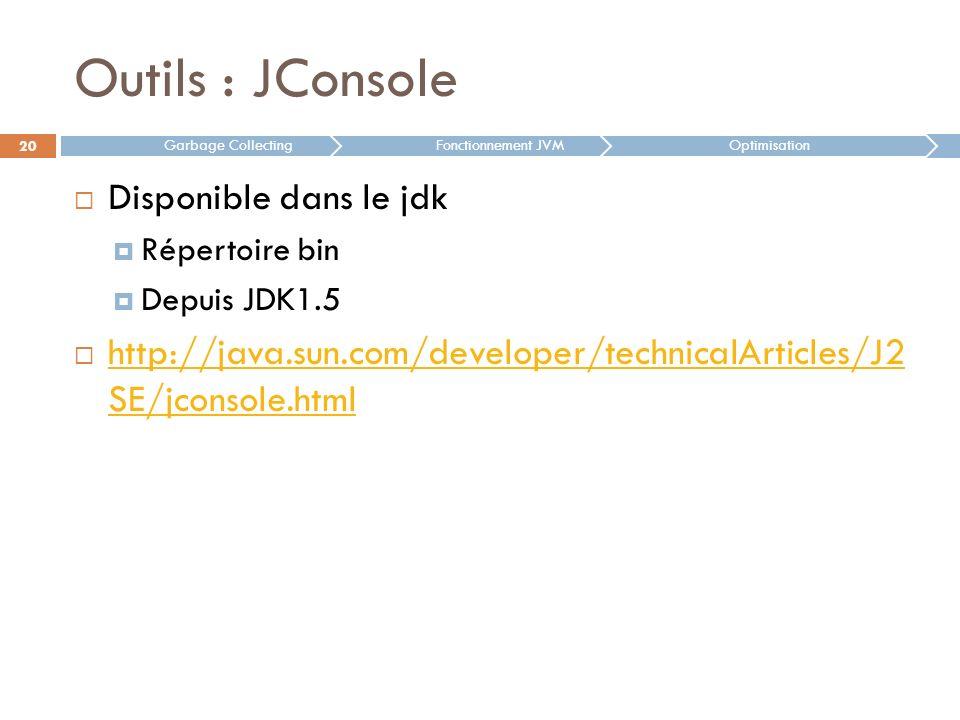 Outils : JConsole Disponible dans le jdk Répertoire bin Depuis JDK1.5 http://java.sun.com/developer/technicalArticles/J2 SE/jconsole.html http://java.