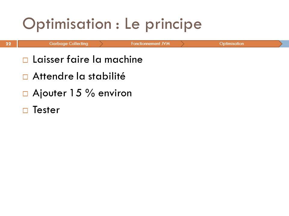Optimisation : Le principe Laisser faire la machine Attendre la stabilité Ajouter 15 % environ Tester 22 Garbage CollectingFonctionnement JVMOptimisat