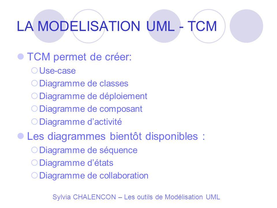 LA MODELISATION UML - TCM TCM permet de créer: Use-case Diagramme de classes Diagramme de déploiement Diagramme de composant Diagramme dactivité Les d