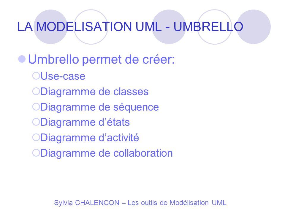 LA MODELISATION UML - UMBRELLO Umbrello permet de créer: Use-case Diagramme de classes Diagramme de séquence Diagramme détats Diagramme dactivité Diag
