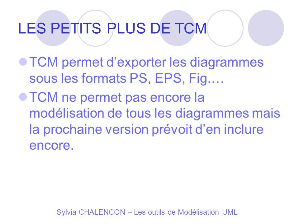Sylvia CHALENCON – Les outils de Modélisation UML LES PETITS PLUS DE TCM TCM permet dexporter les diagrammes sous les formats PS, EPS, Fig.… TCM ne pe
