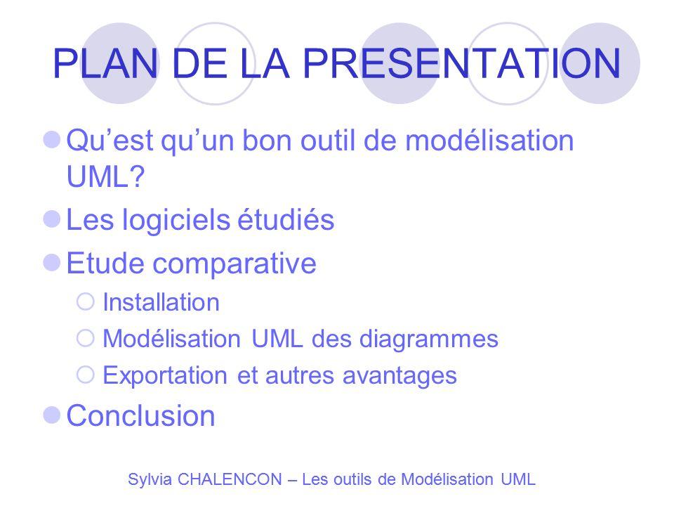 PLAN DE LA PRESENTATION Quest quun bon outil de modélisation UML? Les logiciels étudiés Etude comparative Installation Modélisation UML des diagrammes
