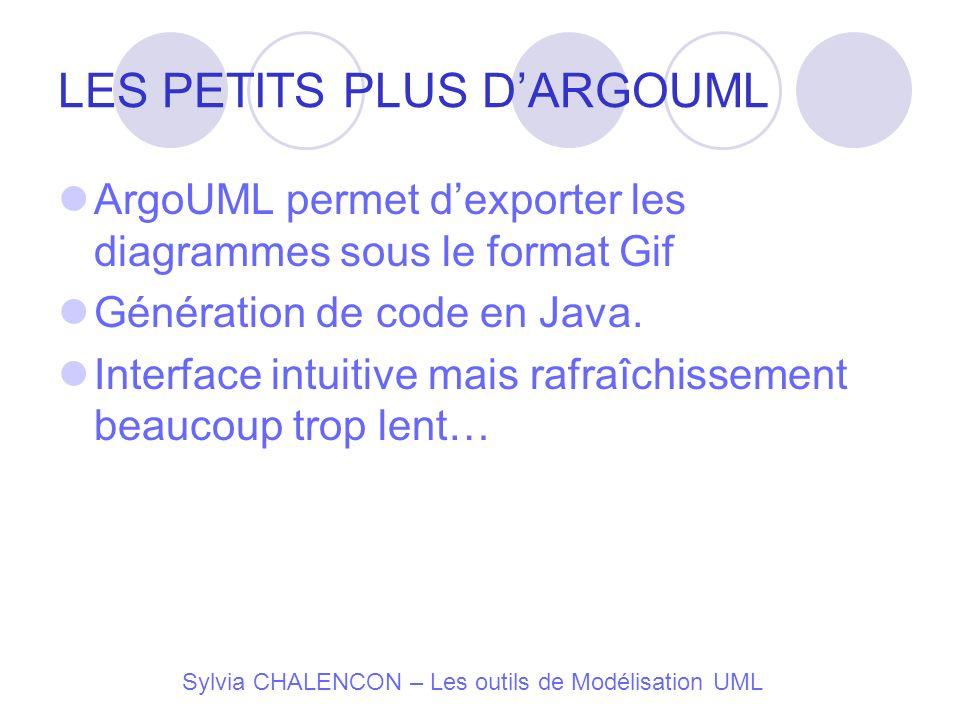 Sylvia CHALENCON – Les outils de Modélisation UML LES PETITS PLUS DARGOUML ArgoUML permet dexporter les diagrammes sous le format Gif Génération de co