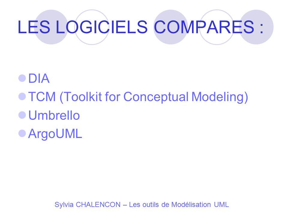 LES LOGICIELS COMPARES : DIA TCM (Toolkit for Conceptual Modeling) Umbrello ArgoUML Sylvia CHALENCON – Les outils de Modélisation UML