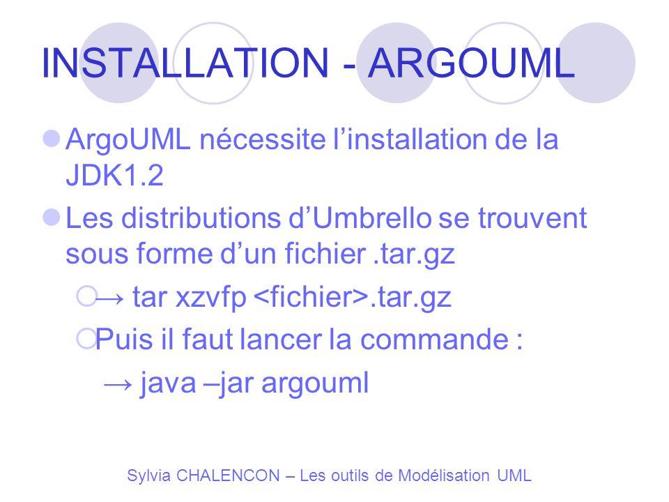 Sylvia CHALENCON – Les outils de Modélisation UML INSTALLATION - ARGOUML ArgoUML nécessite linstallation de la JDK1.2 Les distributions dUmbrello se t