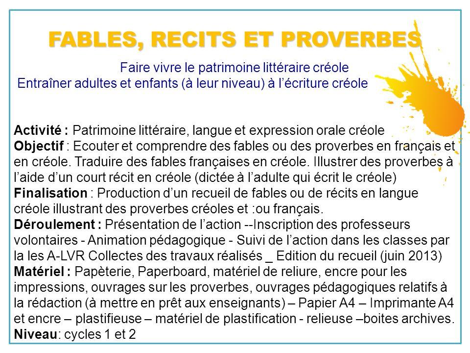 Faire vivre le patrimoine littéraire créole Entraîner adultes et enfants (à leur niveau) à lécriture créole Activité : Patrimoine littéraire, langue e