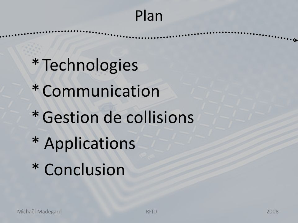 Michaël Madegard2008RFID Plan *Technologies *Communication *Gestion de collisions * Applications * Conclusion