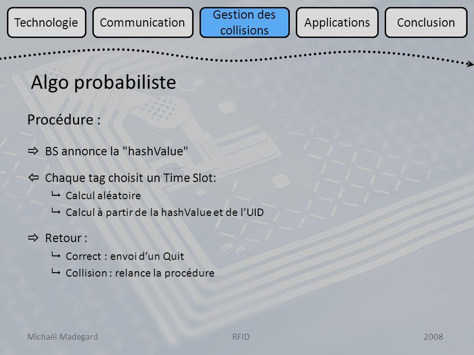 Michaël Madegard2008RFID TechnologieCommunication Gestion des collisions ApplicationsConclusion Procédure : BS annonce la hashValue Chaque tag choisit un Time Slot: Calcul aléatoire Calcul à partir de la hashValue et de lUID Retour : Correct : envoi dun Quit Collision : relance la procédure Algo probabiliste