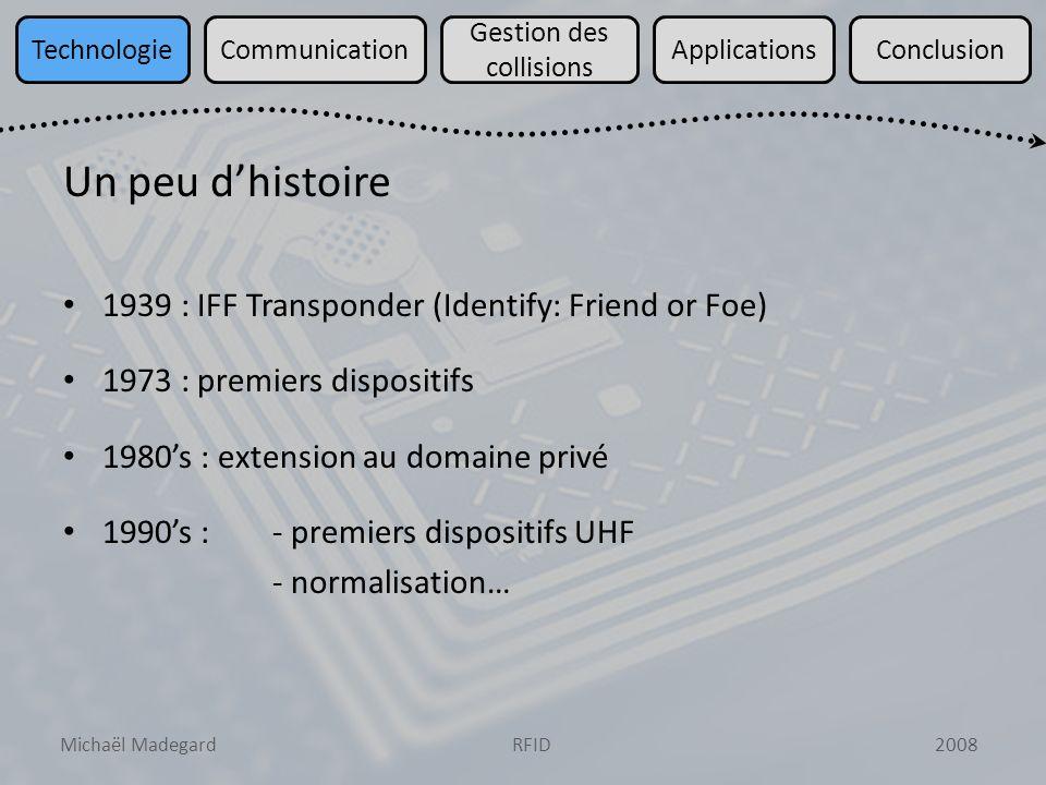 Michaël Madegard2008RFID TechnologieCommunication Gestion des collisions ApplicationsConclusion Dispositifs intervenant