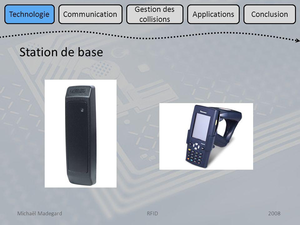 Michaël Madegard2008RFID TechnologieCommunication Gestion des collisions ApplicationsConclusion Station de base Réception/Transmission de signaux RF Circuit de gestion du protocole de communication Interface (host)