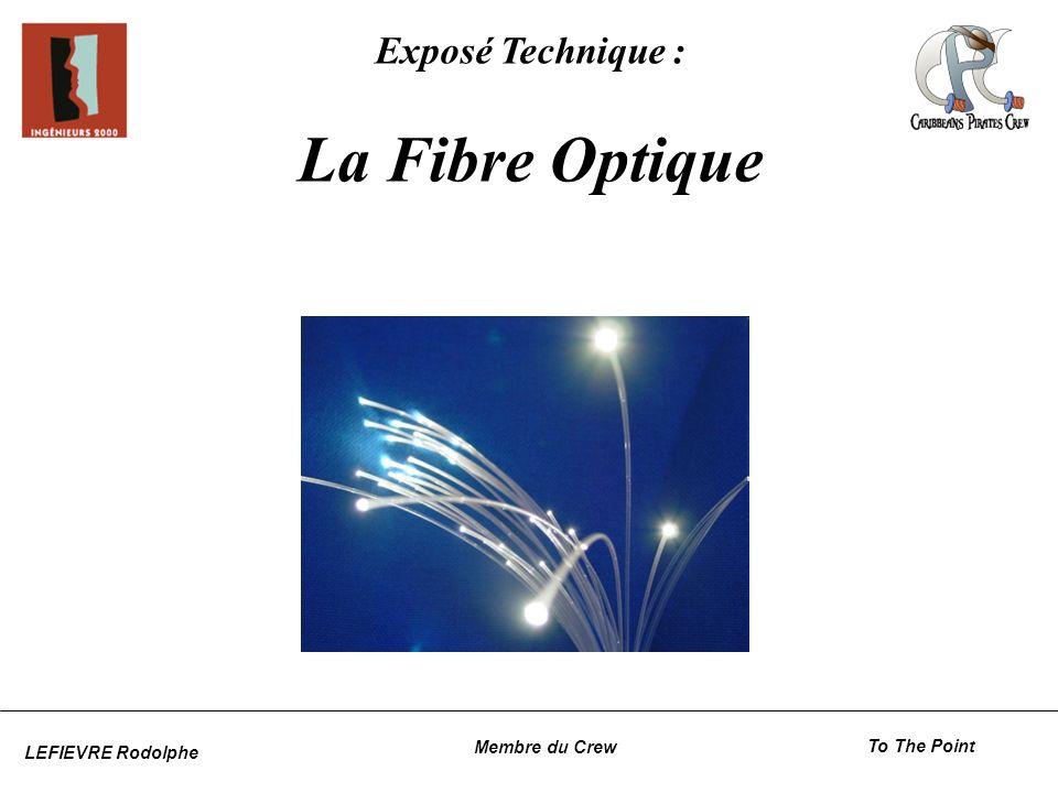 Principe du WDM Circulation de plusieurs longueurs dondes sur une même fibre Chaque longueur donde est représenté par une couleur Chaque couleur est transmis sur un canal différent Un nombre de canaux exploité qui cesse daugmenter La fibre optiqueLes connecteursGlossaire Le WDM