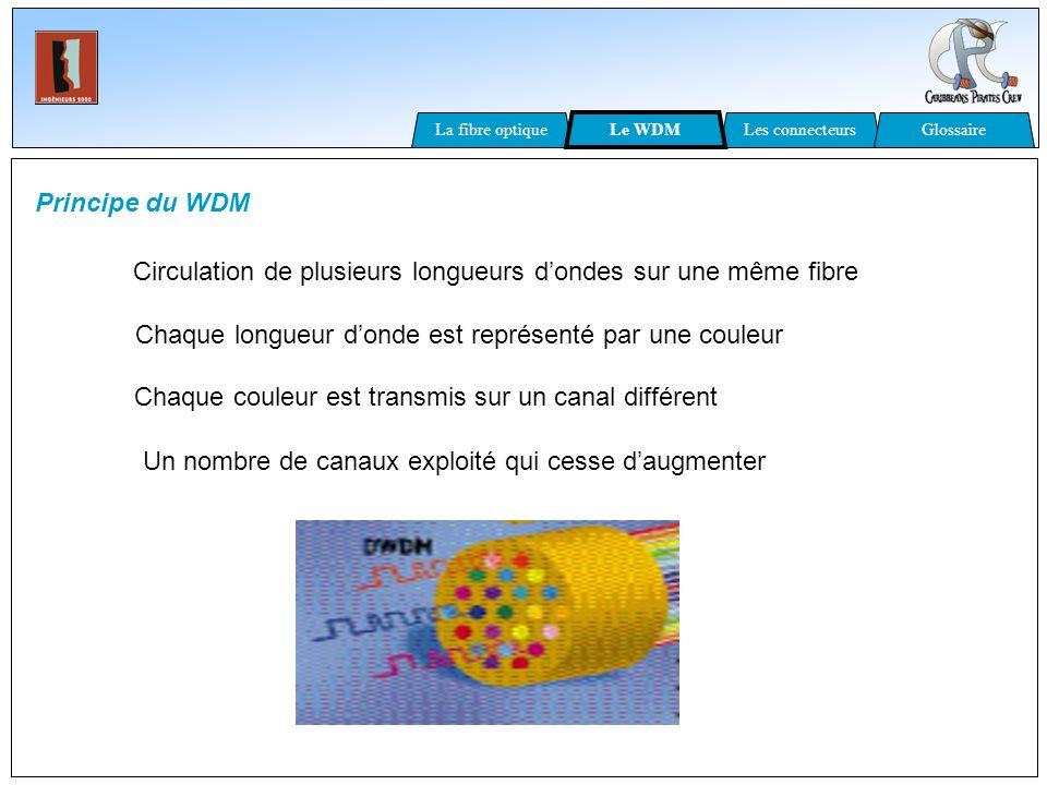 Principe du WDM Circulation de plusieurs longueurs dondes sur une même fibre Chaque longueur donde est représenté par une couleur Chaque couleur est t