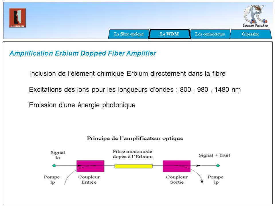 Amplification Erbium Dopped Fiber Amplifier Inclusion de lélément chimique Erbium directement dans la fibre Excitations des ions pour les longueurs do