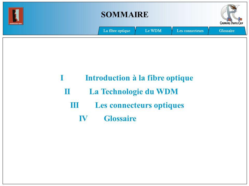Principe du WDM Multiplexage Changement des longueurs dondes par un transpondeur Démultiplexage : Filtre chaque longueur donde La fibre optiqueLes connecteursGlossaire Le WDM