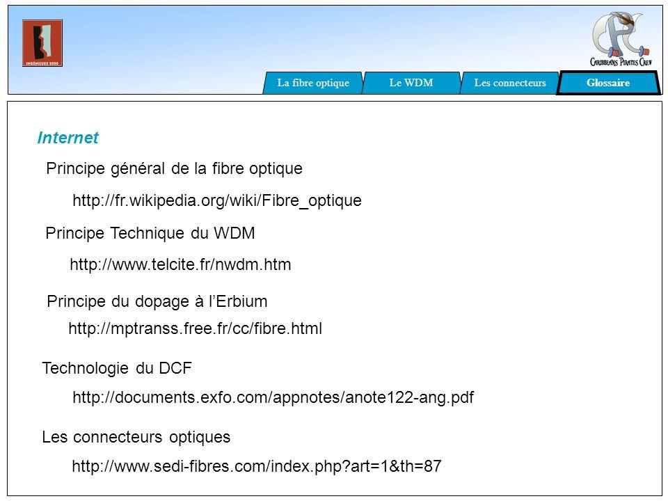 Internet Principe Technique du WDM http://www.telcite.fr/nwdm.htm http://documents.exfo.com/appnotes/anote122-ang.pdf Technologie du DCF http://fr.wik