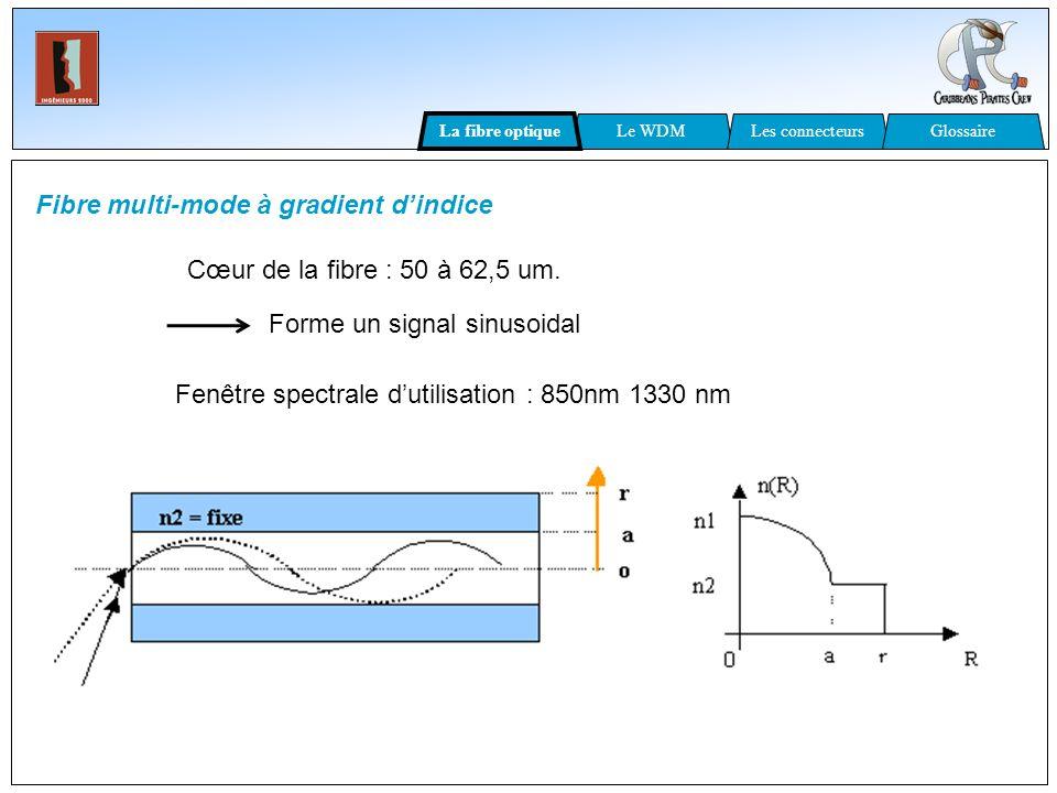 Fibre multi-mode à gradient dindice Cœur de la fibre : 50 à 62,5 um. Forme un signal sinusoidal Fenêtre spectrale dutilisation : 850nm 1330 nm Le WDML