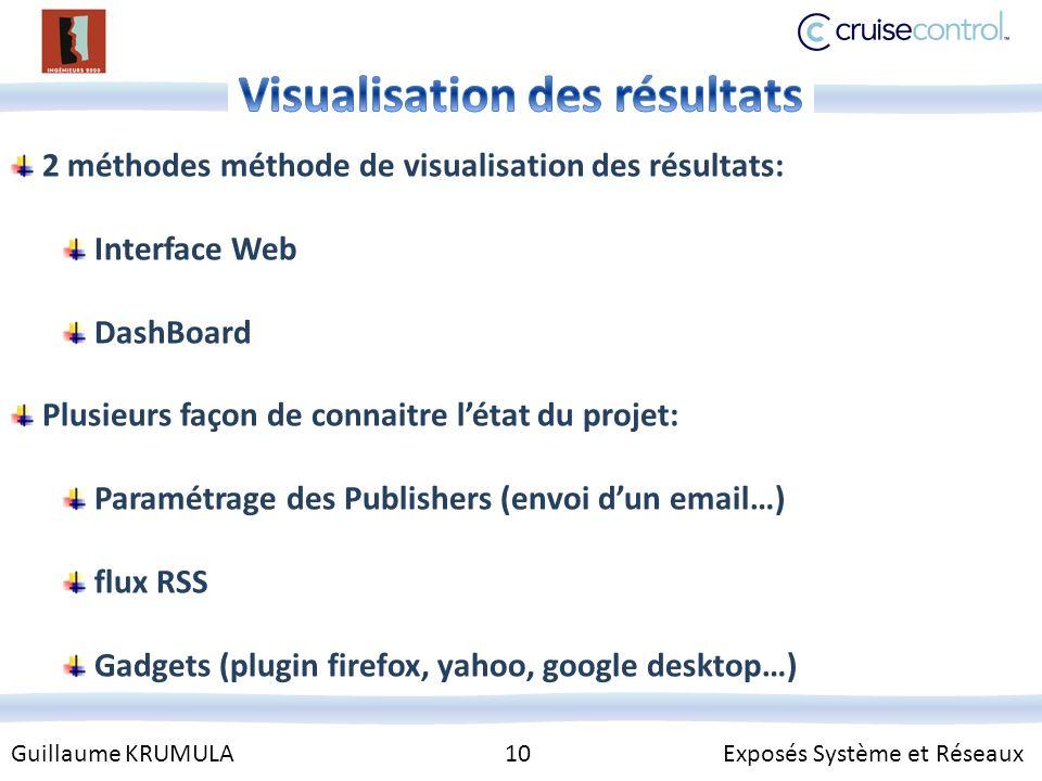 Guillaume KRUMULA 10 Exposés Système et Réseaux 2 méthodes méthode de visualisation des résultats: Interface Web DashBoard Plusieurs façon de connaitre létat du projet: Paramétrage des Publishers (envoi dun email…) flux RSS Gadgets (plugin firefox, yahoo, google desktop…)