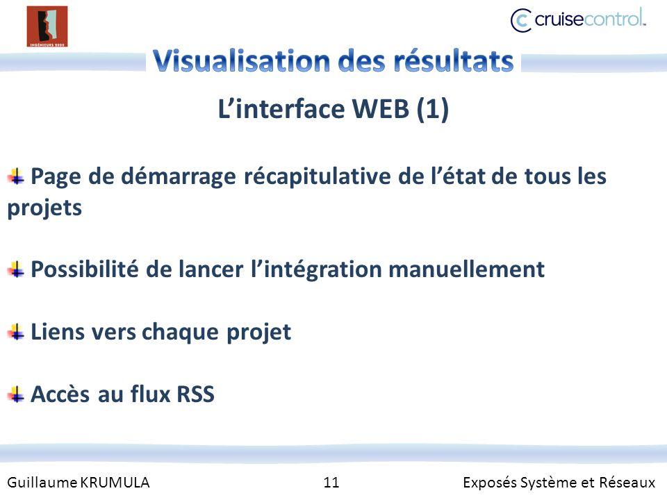 Guillaume KRUMULA 11 Exposés Système et Réseaux Linterface WEB (1) Page de démarrage récapitulative de létat de tous les projets Possibilité de lancer lintégration manuellement Liens vers chaque projet Accès au flux RSS