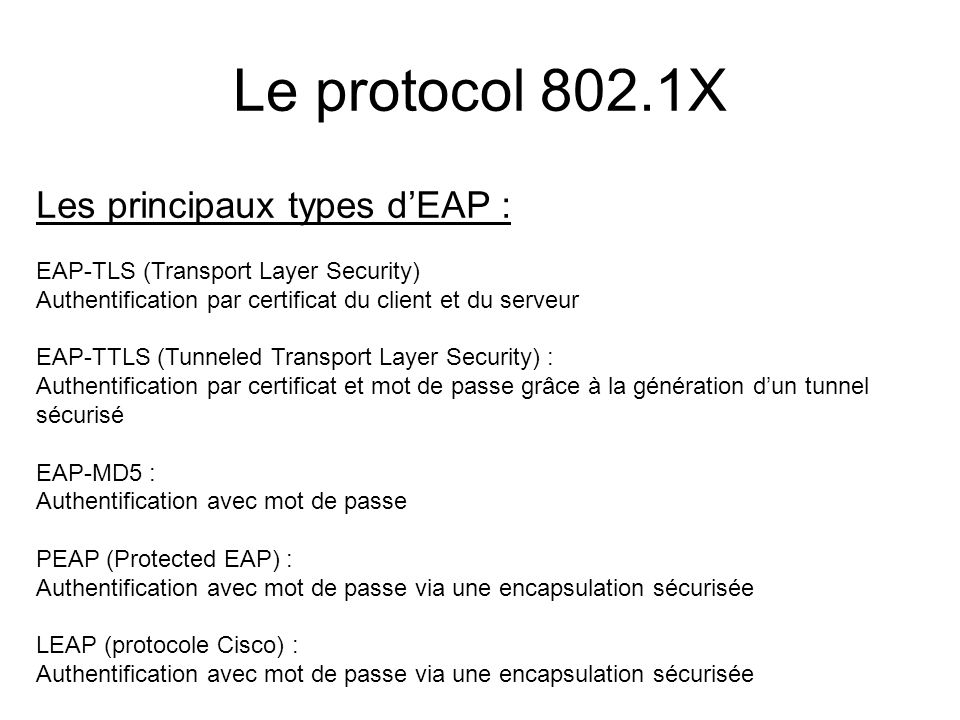 Les principaux types dEAP : EAP-TLS (Transport Layer Security) Authentification par certificat du client et du serveur EAP-TTLS (Tunneled Transport La