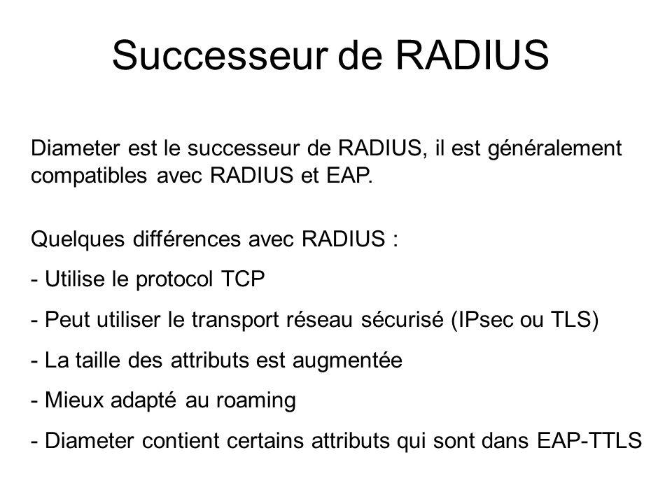Successeur de RADIUS Diameter est le successeur de RADIUS, il est généralement compatibles avec RADIUS et EAP. Quelques différences avec RADIUS : - Ut