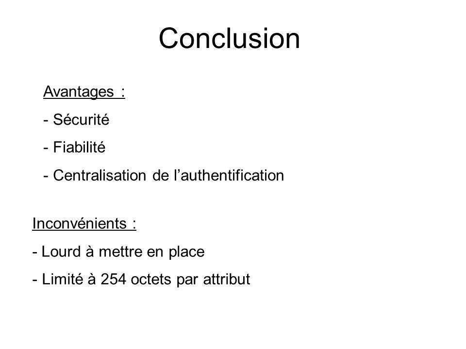 Conclusion Avantages : - Sécurité - Fiabilité - Centralisation de lauthentification Inconvénients : - Lourd à mettre en place - Limité à 254 octets pa