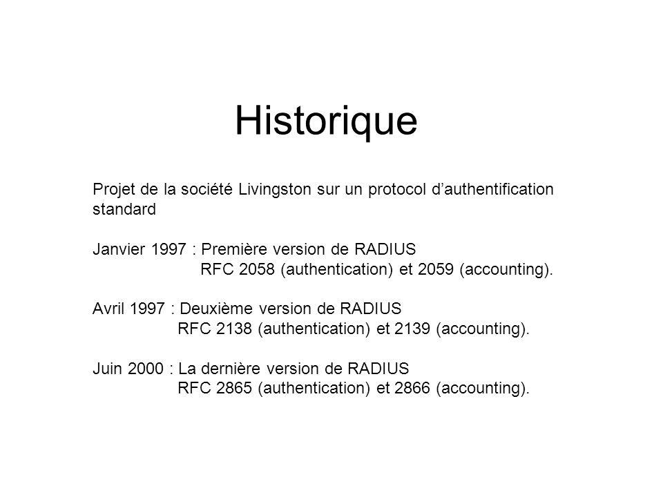 Historique Projet de la société Livingston sur un protocol dauthentification standard Janvier 1997 : Première version de RADIUS RFC 2058 (authenticati