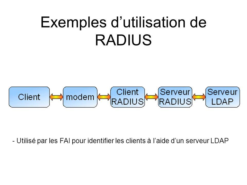 Exemples dutilisation de RADIUS -Utilisé par des points daccès WiFi pour accéder à un réseau -Utilisation dun secret partagé entre le serveur et le client Authentication Serveur SupplicantAuthenticator ou NAS (Network Access Serveur)
