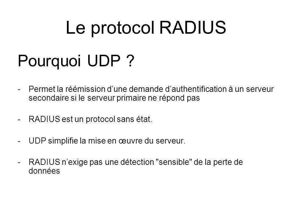 Le protocol RADIUS Pourquoi UDP ? -Permet la réémission dune demande dauthentification à un serveur secondaire si le serveur primaire ne répond pas -R